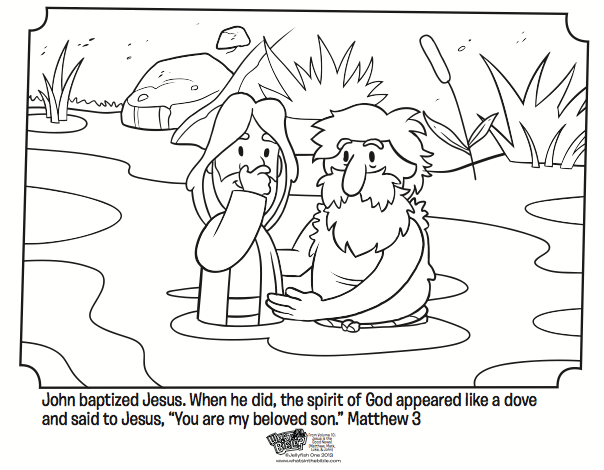 Bible Coloring Pages To Share With Your Sponsored Child Baptism John Jesus