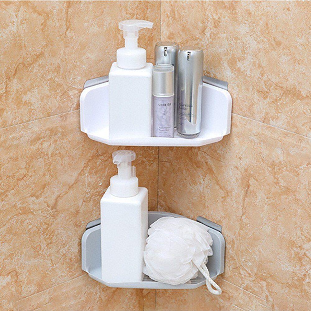 Plastic Suction Cup Bathroom Kitchen Corner Storage Box Rack Organizer Shower Shelf White Shower Shelves Bathroom Organisation Corner Storage