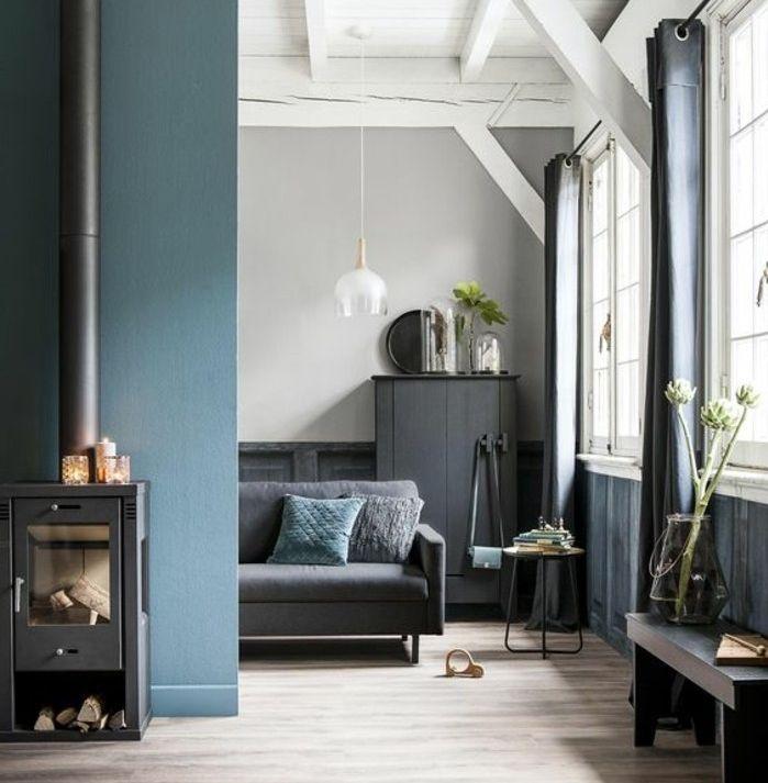 Color tortora abbinamenti al blu, zona giorno con divano e camino a ...