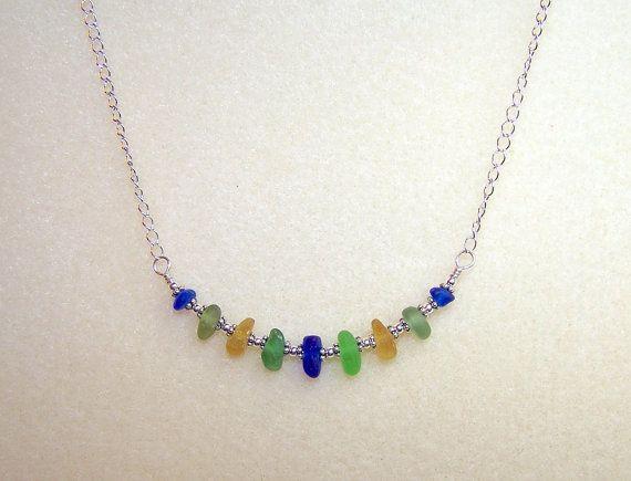 Sea Glass Necklace Beach Glass Jewelry 16 Inch by BikerBlingCa