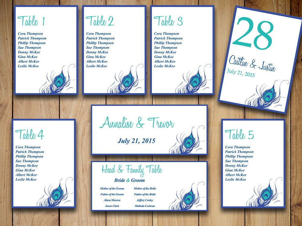 Peacock Wedding Seating Chart Template Download -  - number chart template