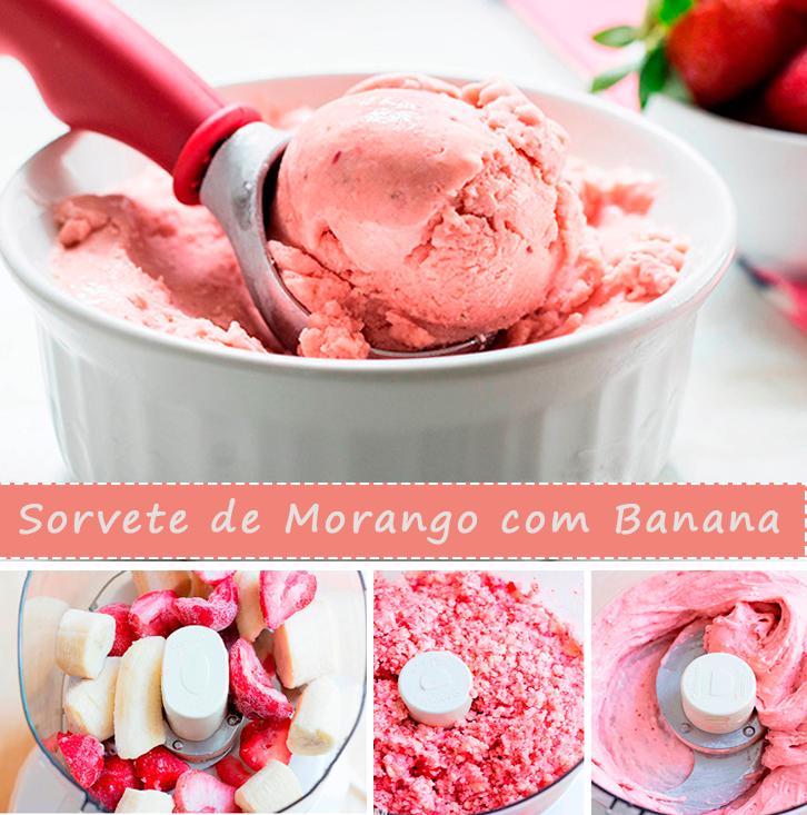SORVETE DE MORANGO COM BANANA Vapt Vupt. Rápido, fácil e com poucas calorias! Experimente essa delícia e depois nos conte.  Confira mais em: http://dicasdacasa.com