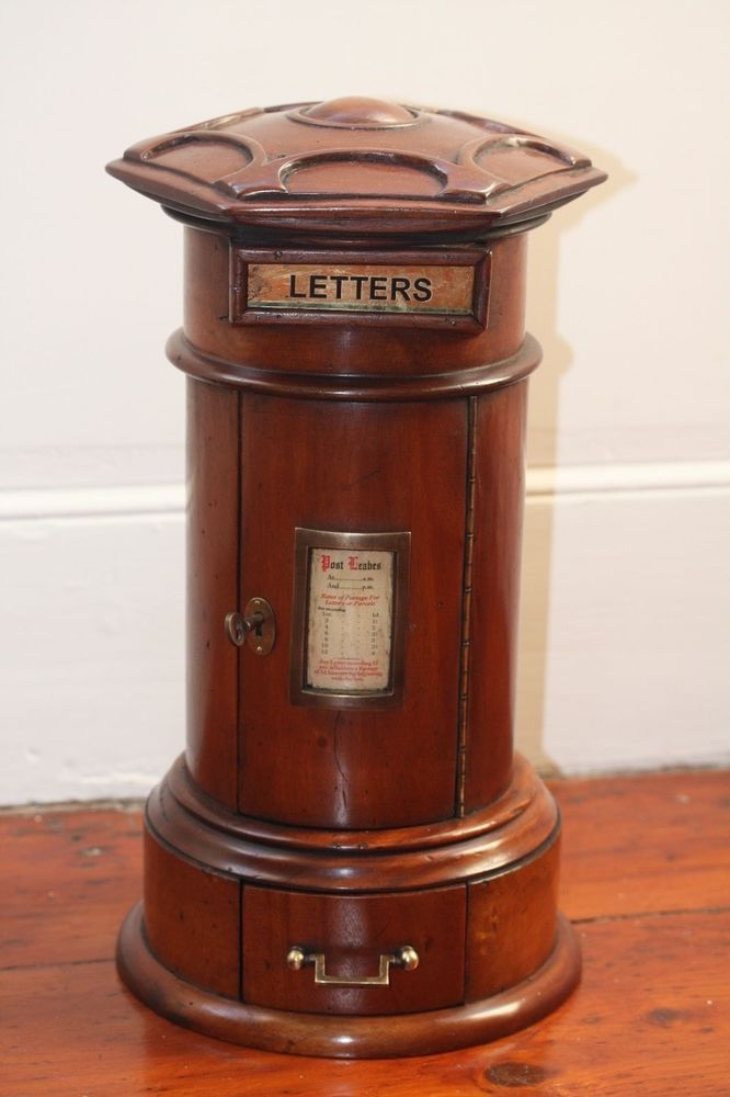 Post Box Victorian Antique Letter Box Wooden for Posting Letters