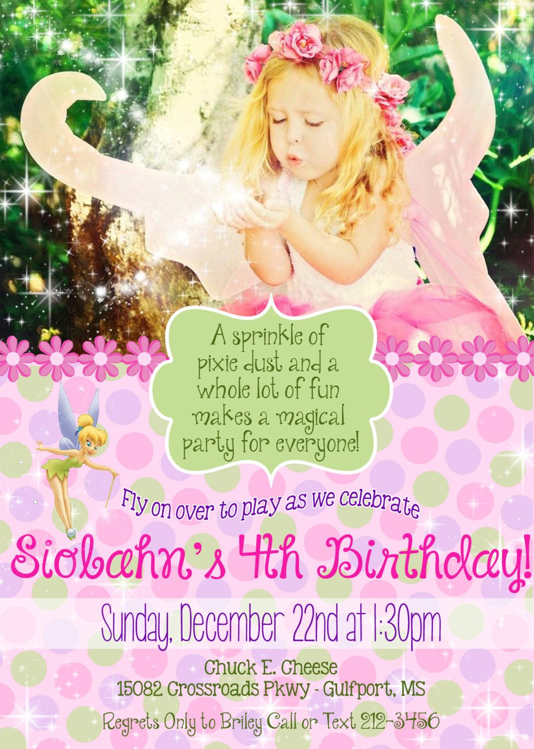 Flower Fairy Birthday Party Invitation - 5x7 DIGITAL FILE | Fairy ...