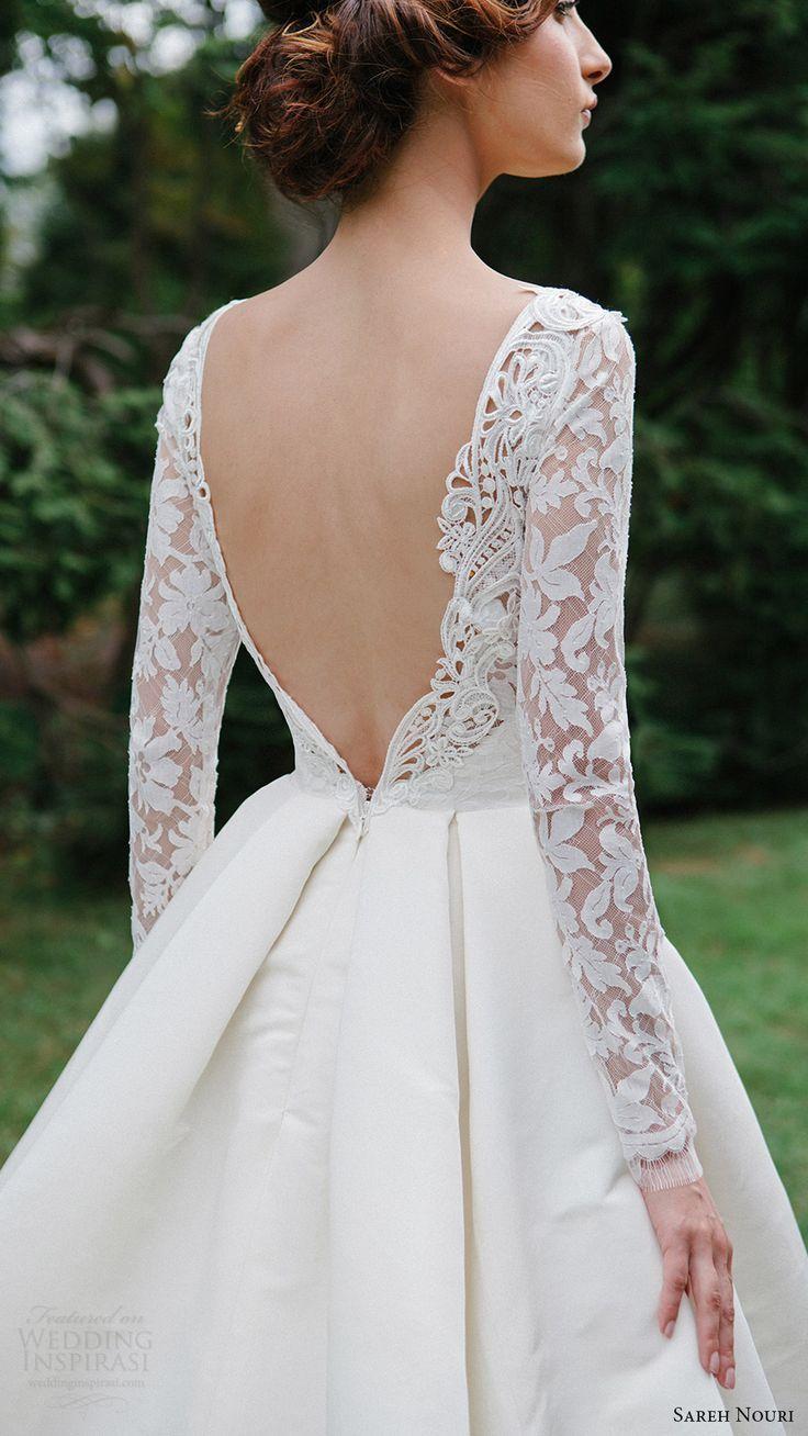 Ball gown wedding dress with sleeves  sareh nouri bridal fall  long sleeve deep vneck aline ball gown