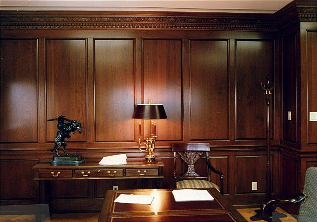 Wood Paneled Office Home