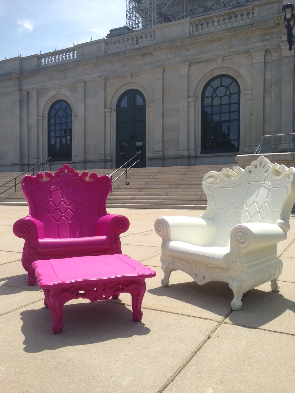 Magenta And White Romeo Chairs From Our New Verona Collection Http://www.  VeronaMagentaPhiladelphiaChairs
