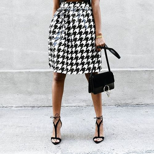 Friday night sparkle in our Sequin Houndstooth Skirt ♥/www.houseoflva.com