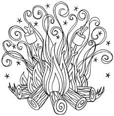 Campfire Coloring Pages Camping Coloring Pages Paper Embroidery
