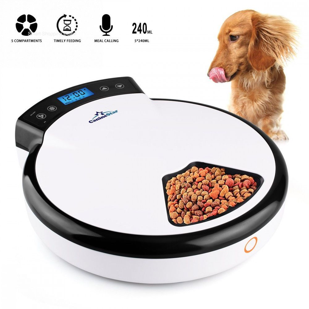 Automatic Pet Feeder Dog Dish With Voice Recorder Timer Dogs Food