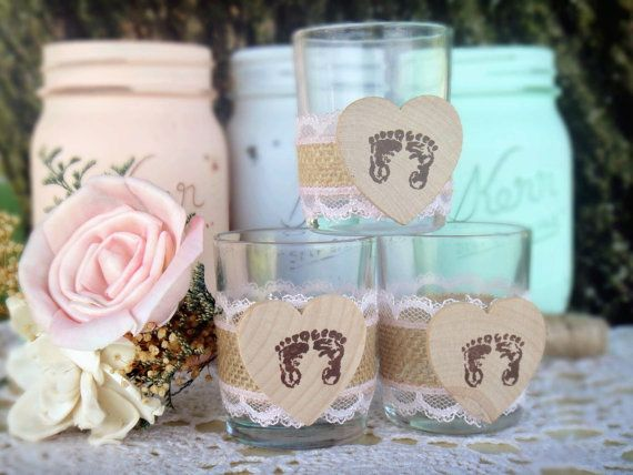 Baby Shower Idea: Adorable Burlap and Lace Rustic Baby Shower Candle Holder Decor