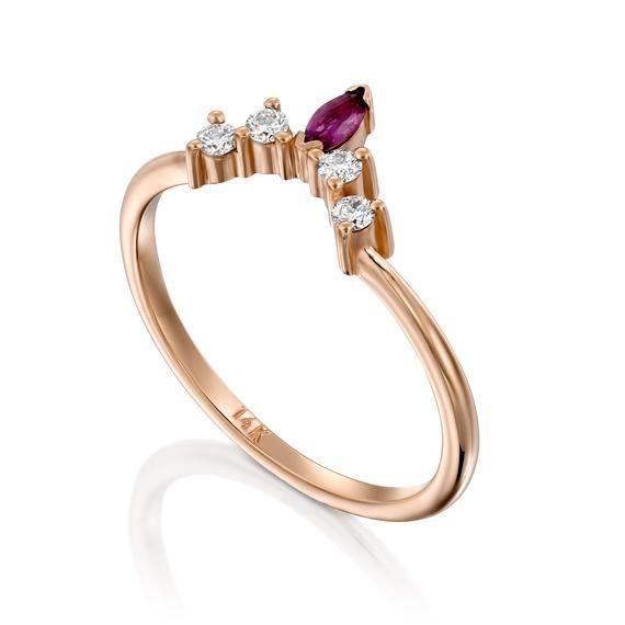 Ruby and Diamond Nesting Ring Chevron Diamond Ring Crown | Etsy