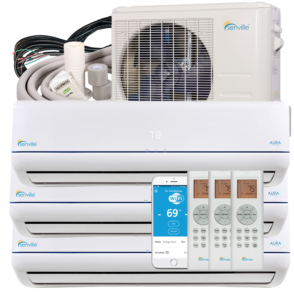 36000 BTU TriZone Mini Split Air Conditioner Heat Pump