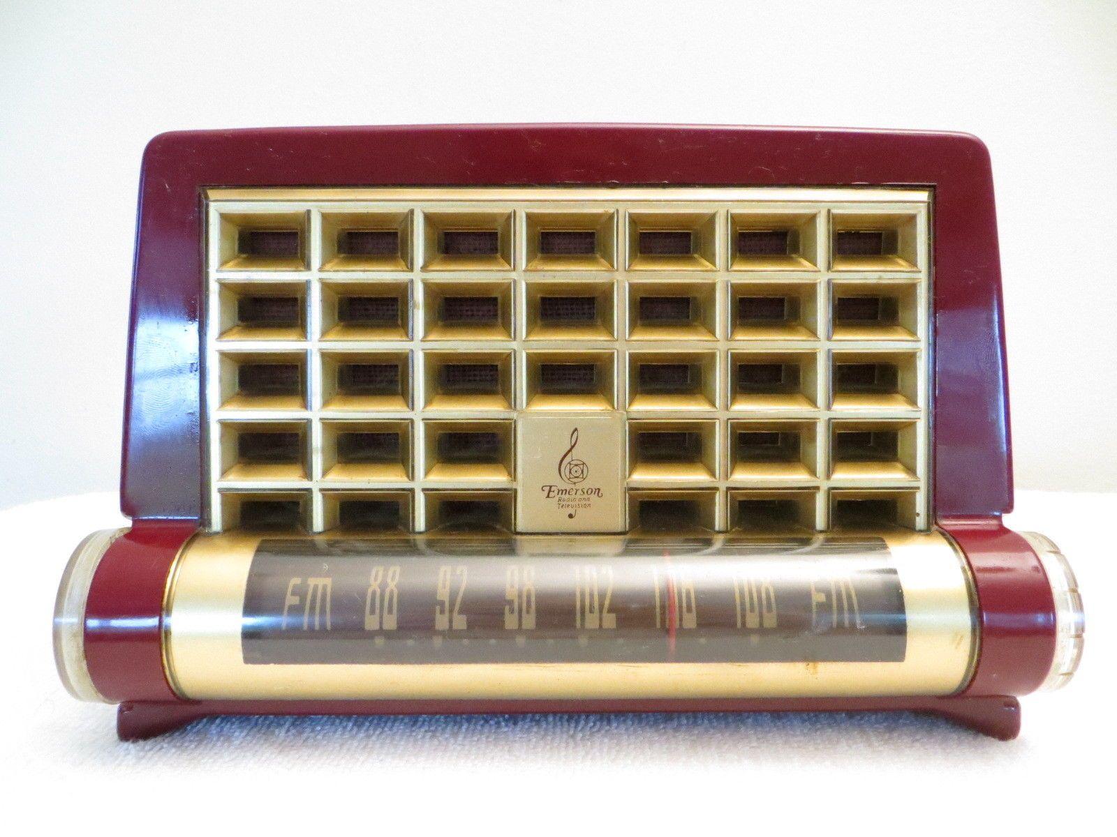 Vintage 1950s Old Raymond Loewy Emerson Bakelite Radio A RARE FM Tube Chassis | eBay