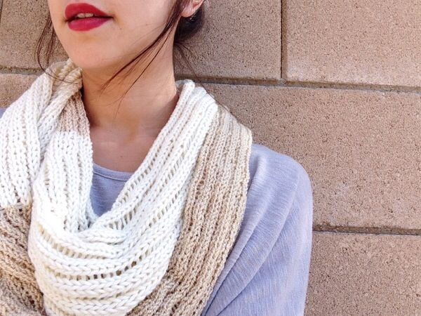 Two Tone Drop Stitch Infinity Scarf Free Knitting Pattern Hello