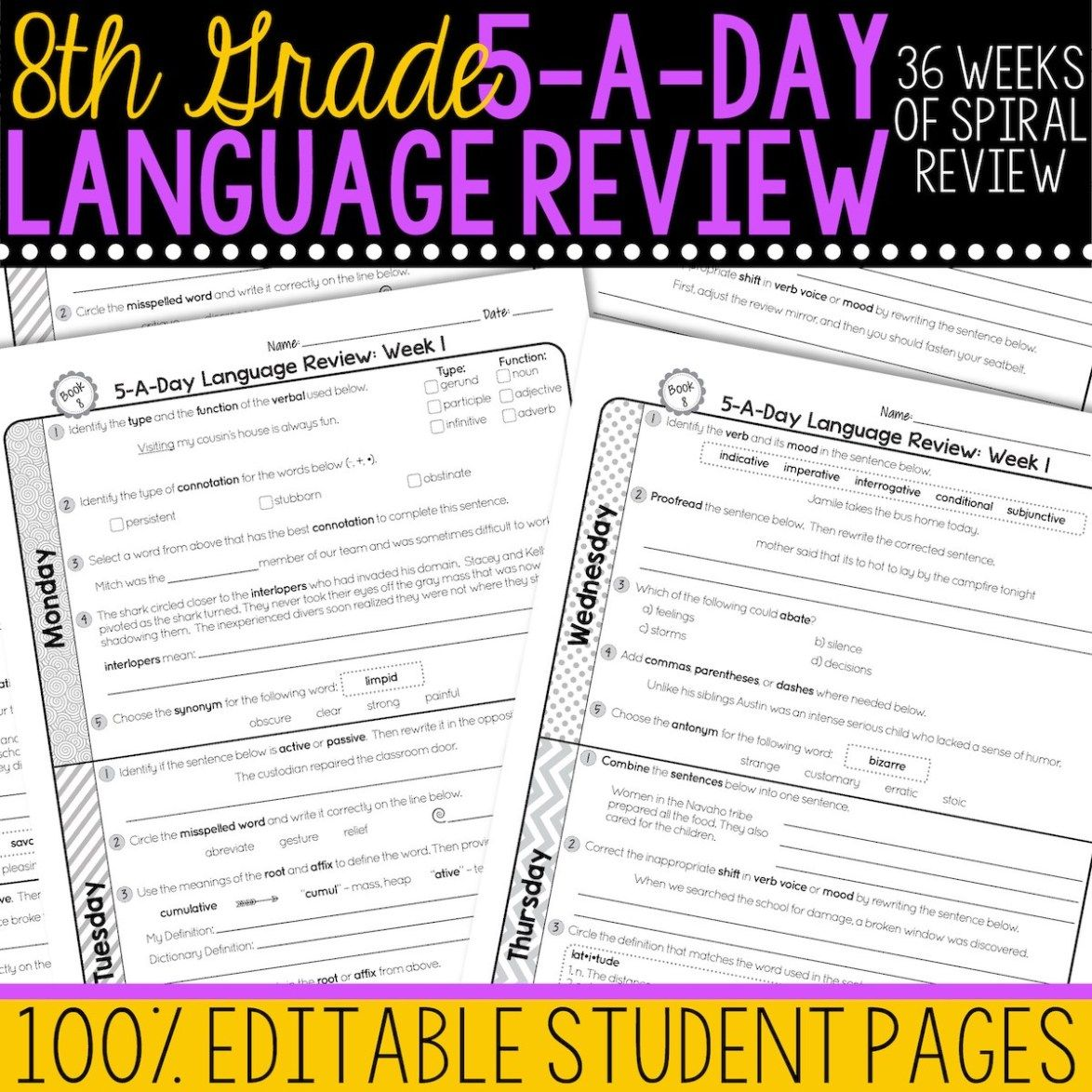 8th Grade Daily Language Spiral Review