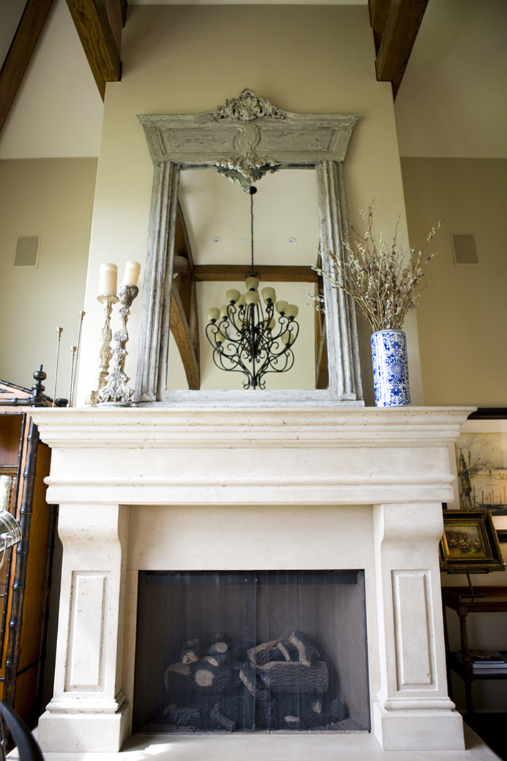 Private Residence. Interior Design by Alice Lane Home Collection.  (fireplace, gustavian, european, antique, mirror, mantle)