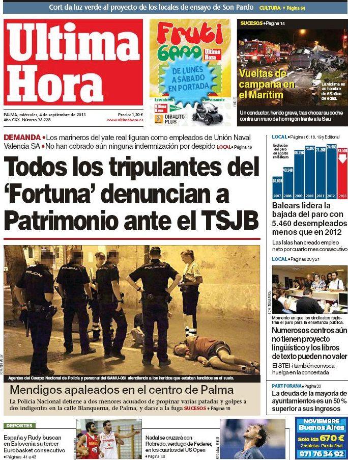 Los Titulares y Portadas de Noticias Destacadas Españolas del 4 de Septiembre de 2013 del Diario Ultima Hora ¿Que le pareció esta Portada de este Diario Español?