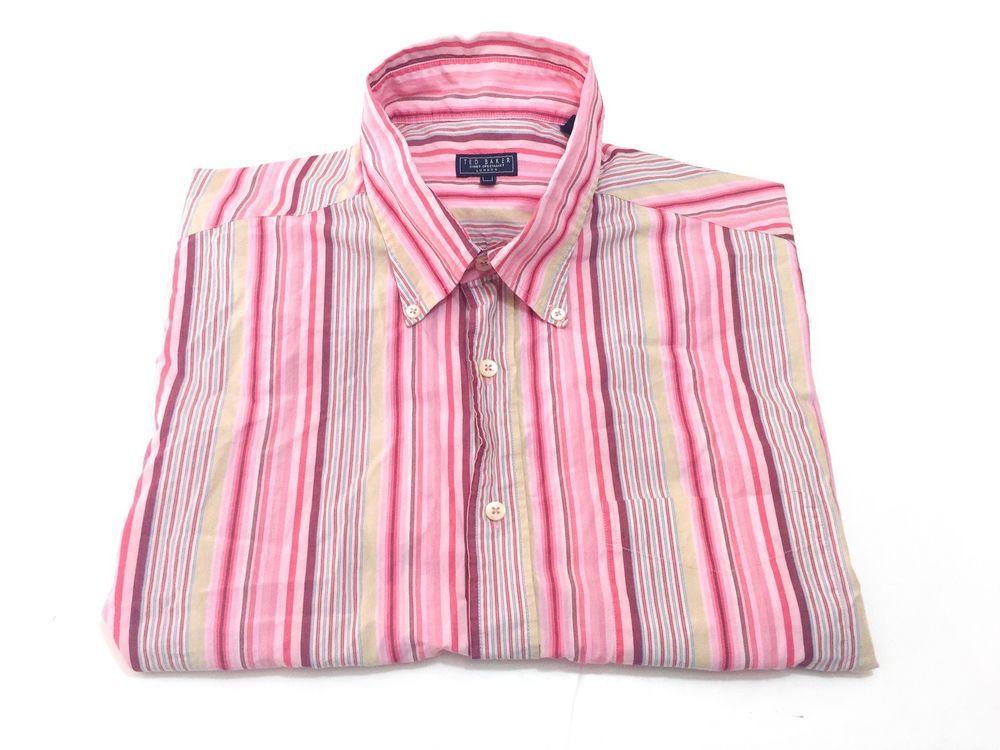 Ted Baker London 5/XL Pink Multi-Color Stripe Short Sleeve