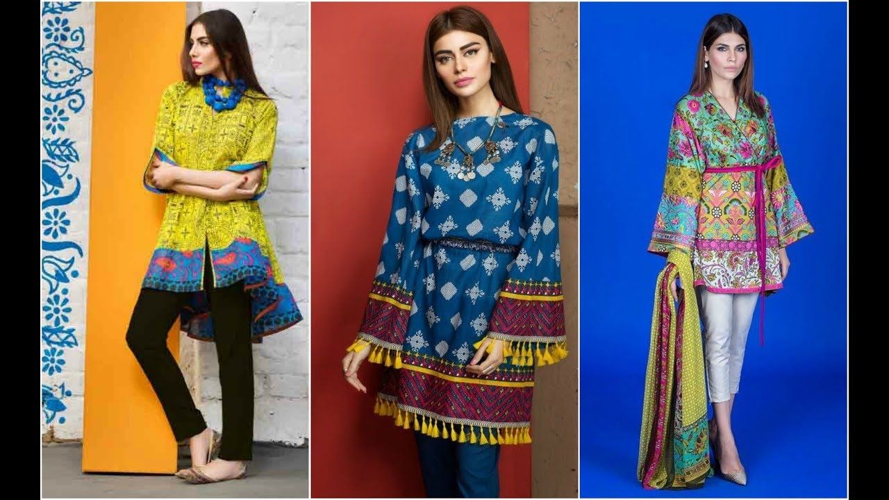 e830a0c798 Latest Short Kurti with Capri Designs in Pakistan 2018 | Latest Short Ku.