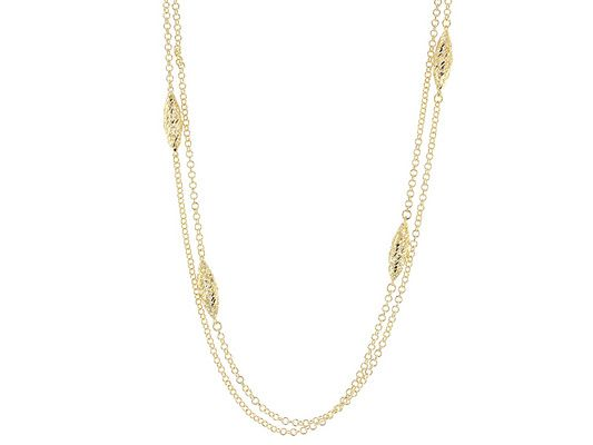Add a little shine to any look with this necklace! - Moda Al Massimo(Tm) 18k Yellow Gold Over Bronze Marquis Stations Multi-strand 30 Inch Necklace