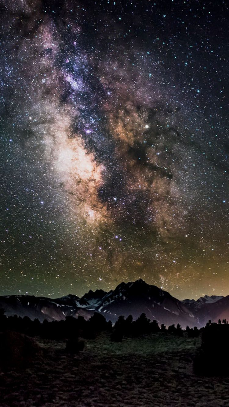 Stars Mountains Wallpaper Background For Phones Apple Iphone 6 6s 7 Mountain Wallpaper Night Time Photography Phone Wallpaper