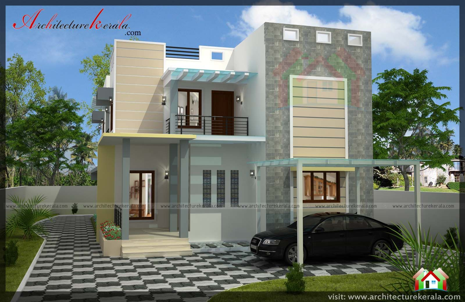 2400 Square Feet 4 Bedroom House Plan And Elevation Can Construct In 3 5 Cent Or 4 Cent House Plot K 4 Bedroom House Plans Kerala Houses Courtyard House Plans
