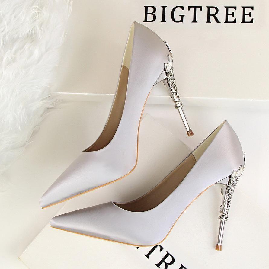 3945b92989 Bright Silk Stiletto Heel Pointed Toe High Heels Party Wedding Shoes ...