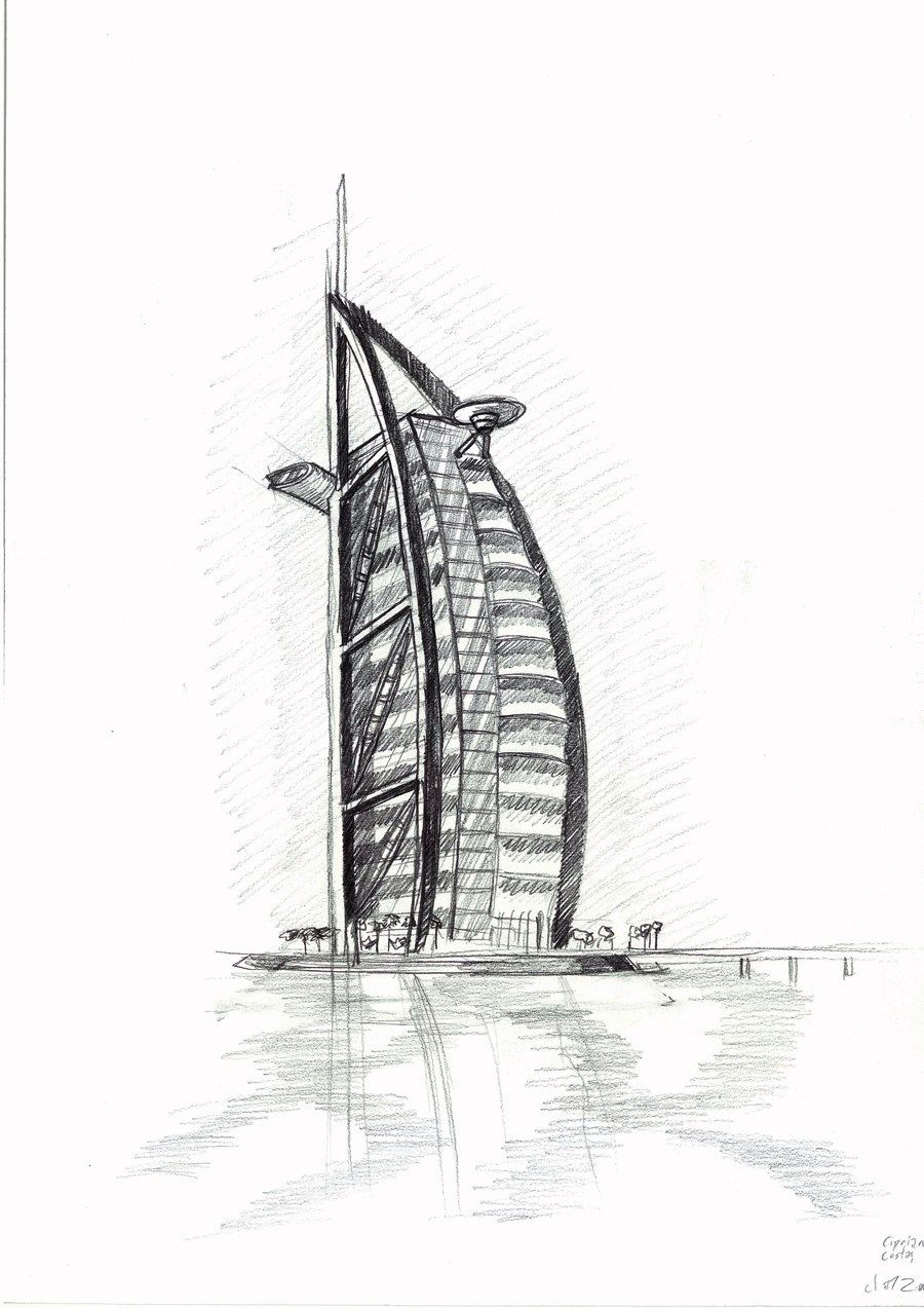 Burj Al Arab Sketch By Existtraiesc D4dkhde Jpg 900 1273 Architecture Drawing Sketchbooks Architecture Drawing Drawings