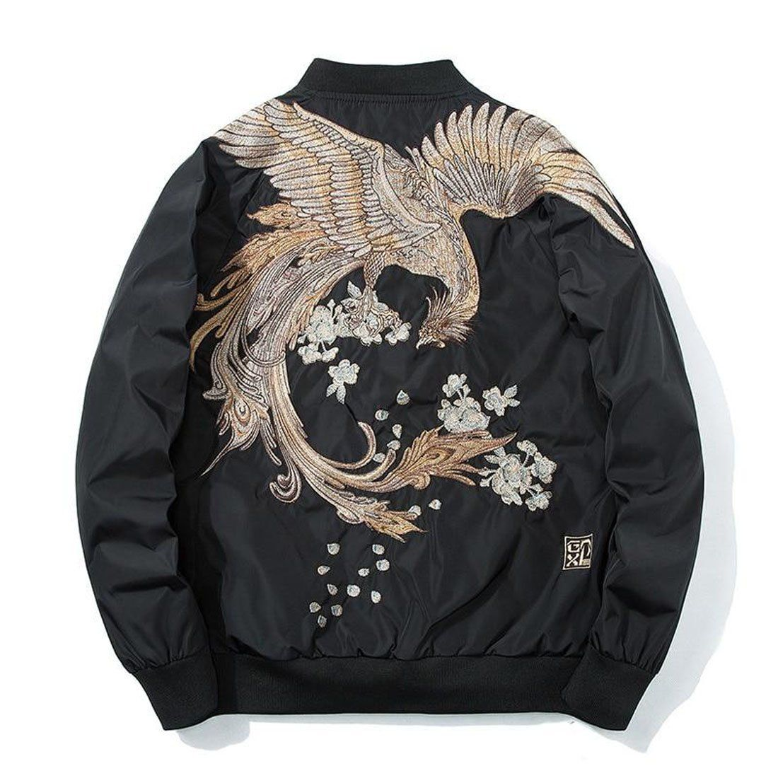 Men S Jacket High Street Phoenix Embroidery Plus Size Casual Outwear Hip Hop For Spring Jackets Fashion Casual Japanese Bomber Jacket Spring Bomber Jacket [ 1100 x 1100 Pixel ]