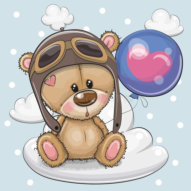 Cute Cartoon Teddy Bear boy with Balloon. Greeting card Cute Cartoon Teddy Bear in a pilot with blue balloon on a cloud royalty free illustration