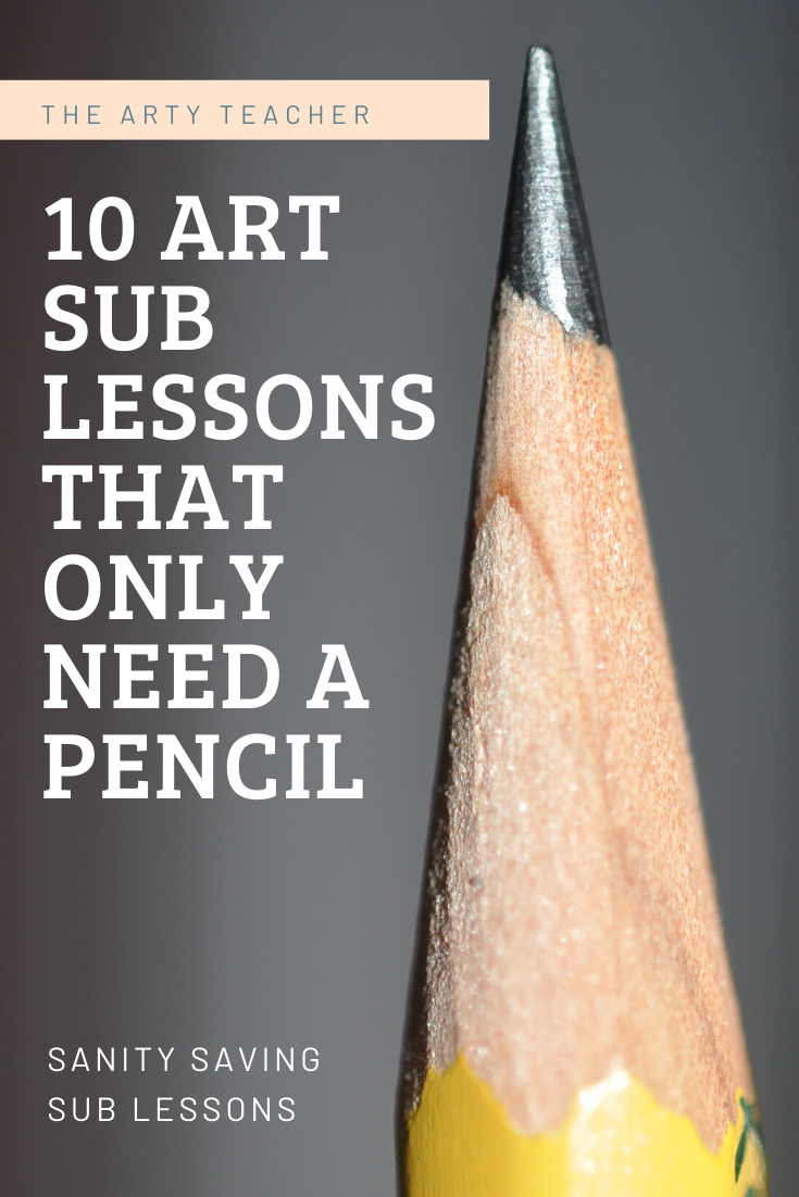 10 art sub lessons that only need a pencil.  Cover lessons for art teachers.  Make the perfect art sub lessson folder with this amazing resources.