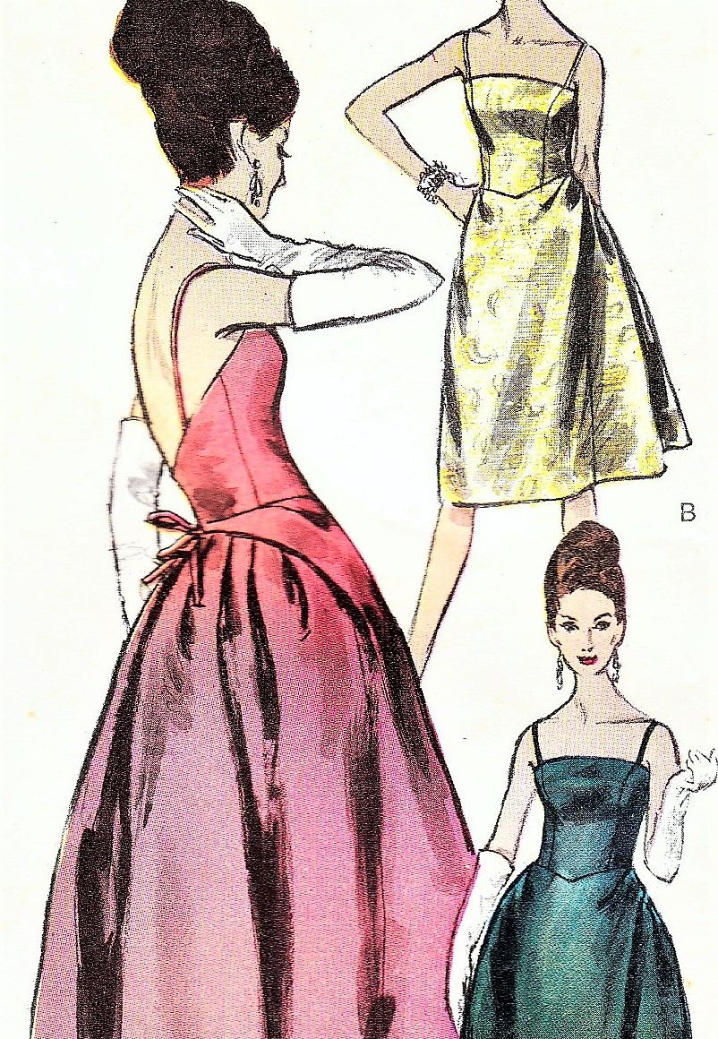 P6067s21 1960s Glamorous Evening Gown Cocktail Dress Pattern Cocktail Dress Patterns Vogue Dress Patterns Gown Sewing Pattern [ 1160 x 802 Pixel ]