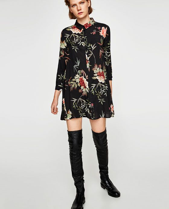 Robe courte a fleur zara