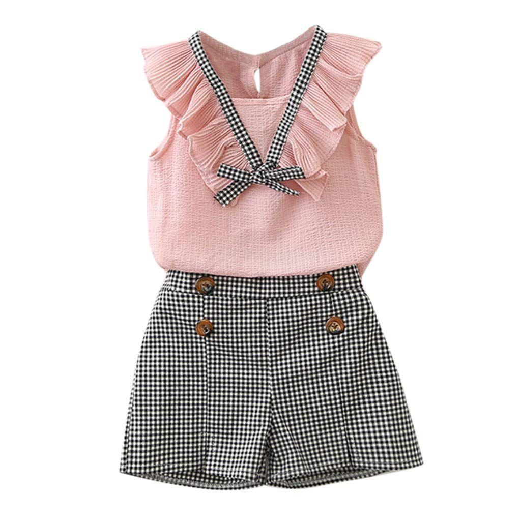 Kehen Kid Little Girl Summer Outfit Classic School Uniform Dresses 2pcs Sleeveless Ruffles Shirt Plaid Shorts