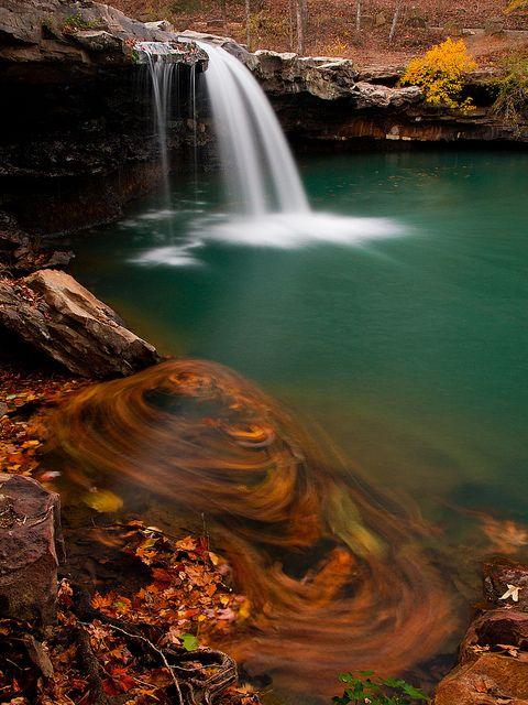 Fallen leaves at falling water falls arkansas usa for The canyons at falling water
