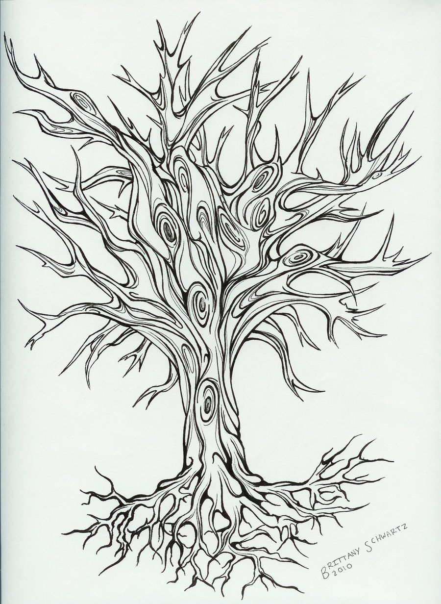 Free Tattoo Line Drawing : Free printable designs tree tattoo design by