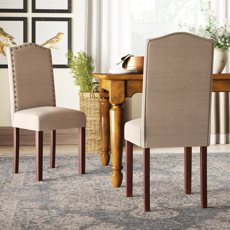 Dorchester linen upholstered side chair in tan in 2020