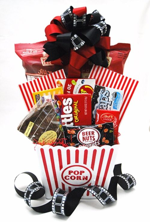 Popcornskittlesgift basketfooddessert simple and quick cool idea for a movie lover great easter basket idea for men too negle Images