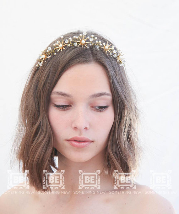 Accessories Beaded Headdress Wedding Gold Metal With Grey Beads Soft Tiara Boho Headband Costumes, Reenactment, Theater