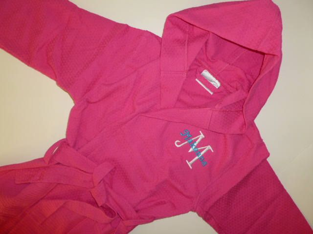 KIDS ROBE Monogram Robe Hooded Robe Personalized Waffle Weave Robe All Cotton Robe Monogram Childs Robe Custom Embroidered