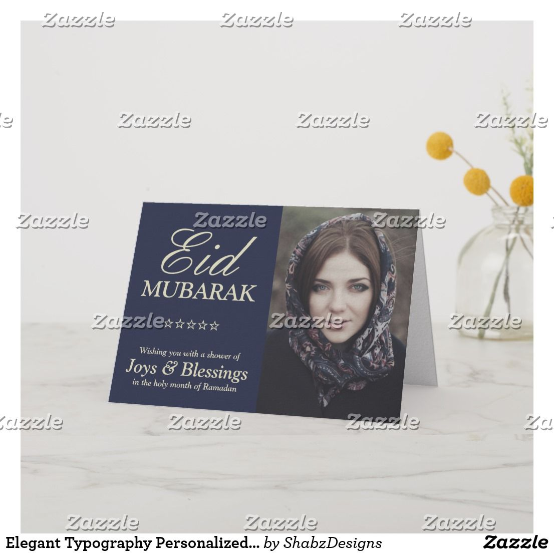 elegant typography personalized eid mubarak photo holiday