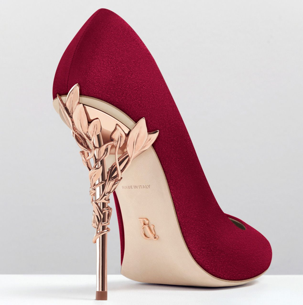 Fandango colour Suede Rose gold colour leaves 12cm heel Leather outsole  Made in Italy Red Prom 5e689d1f00
