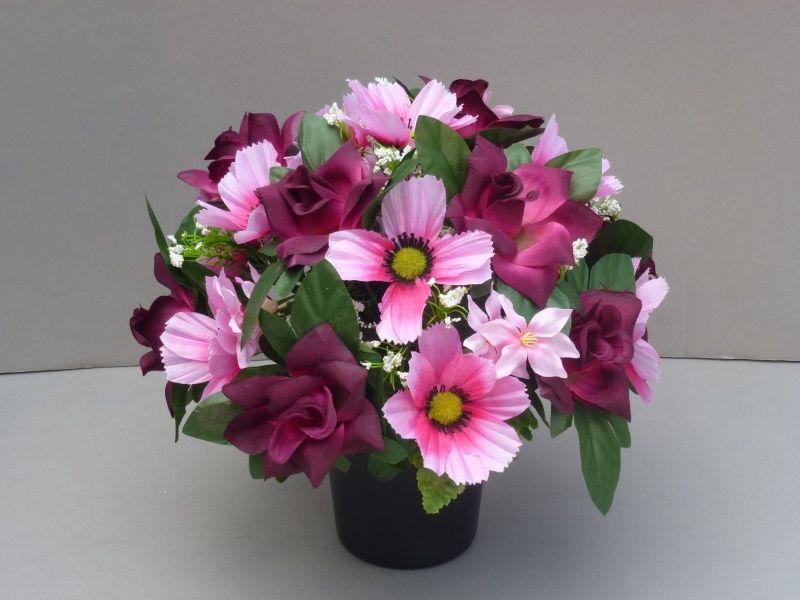 Pot for memorial vase with artificial Burgundy Roses | Flower ...