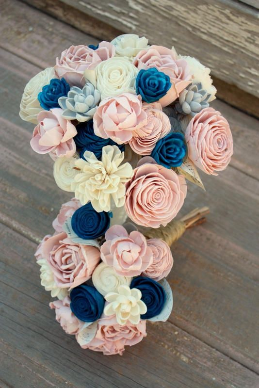 Items similar to Sola flower bouquet, brides wedding bouquet, navy blue and blush pink wedding flowers, dusty rose bouquet, eco flowers, wood flower bouquet on Etsy #flowerbouquetwedding