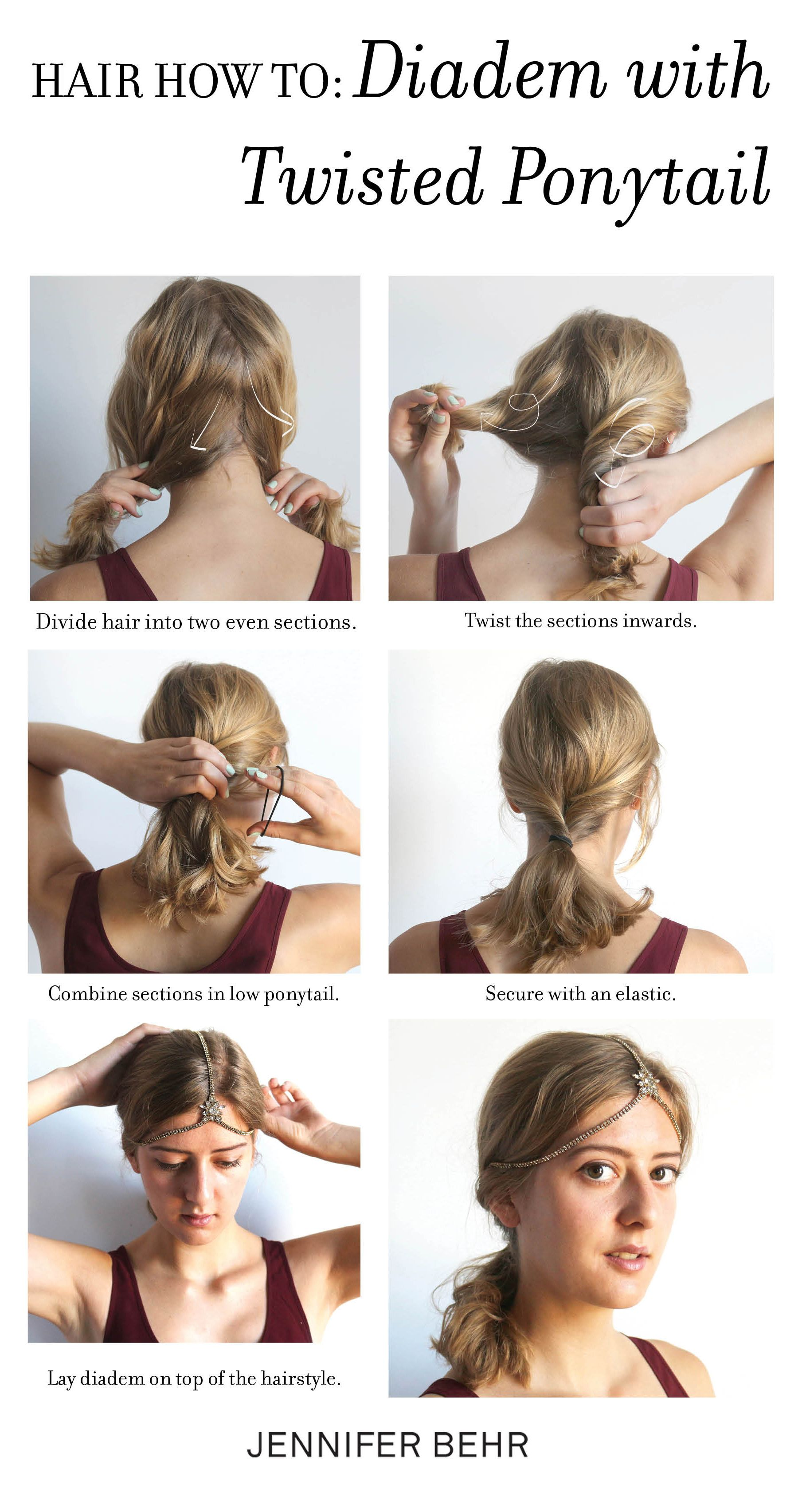 How To Style A Diadem With A Low Twisted Ponytail Great