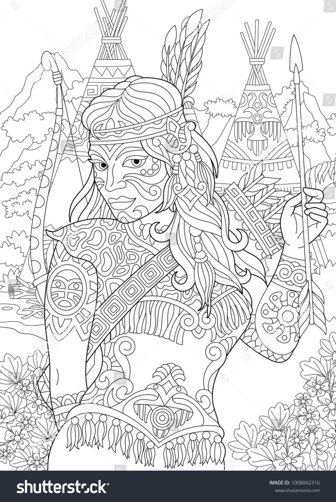 Coloring Page Adult Coloring Book Native American Indian Woman