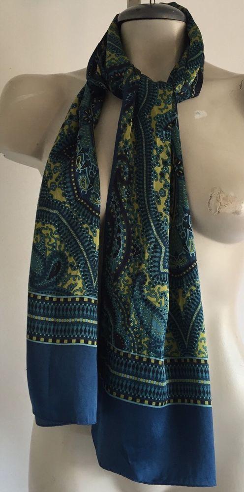AK Anne Klein Blue Green Paisley Silk Scarf | eBay