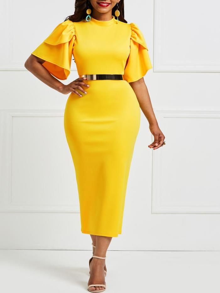 5816dab228b Falbala Pure Color Knee-Length Bodycon Dress – hebedress.com