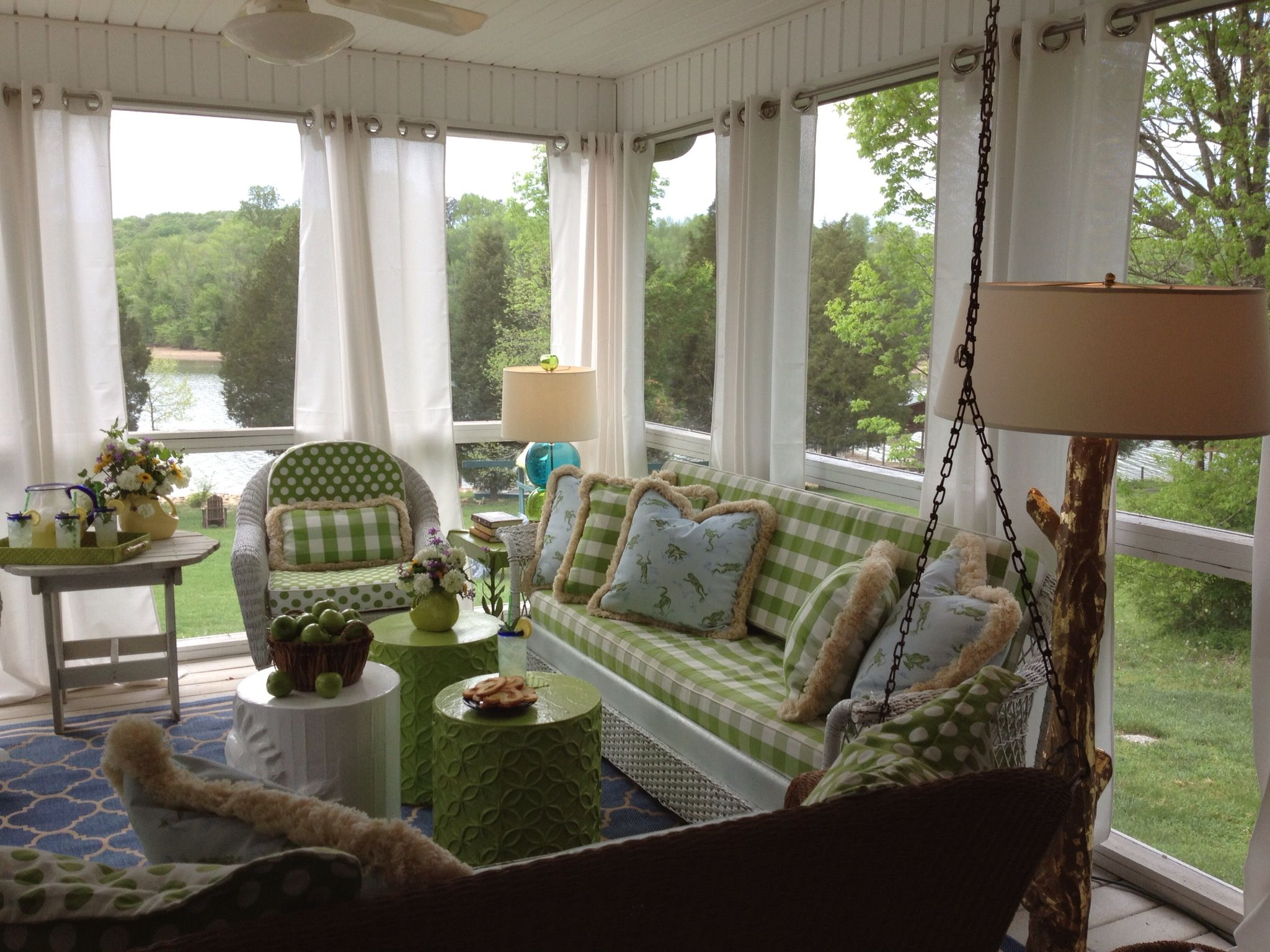 Window ideas for a sunroom  screened in porch by ashley ford interiors with lots of stray dog